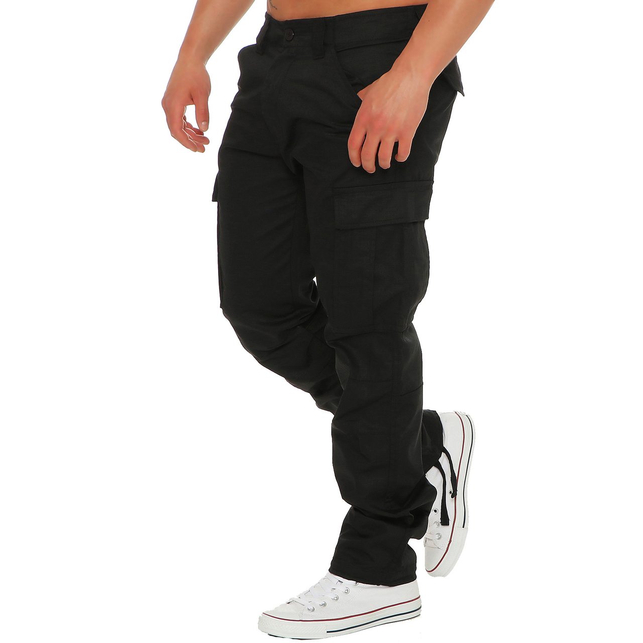 Finchman-Herren-Cargo-F1001-Hose-Lang-Trousers-Pant-Freizeithose-Tapererd-Fit