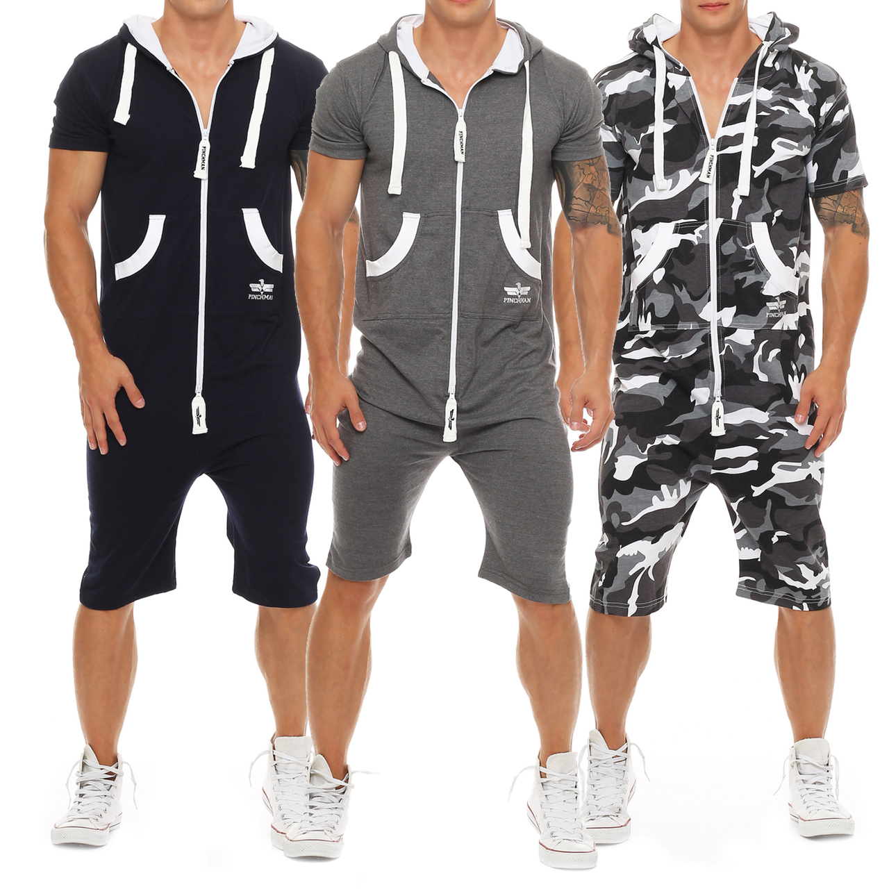 finchman herren sommerjumpsuit kurz anzug overall onesie. Black Bedroom Furniture Sets. Home Design Ideas