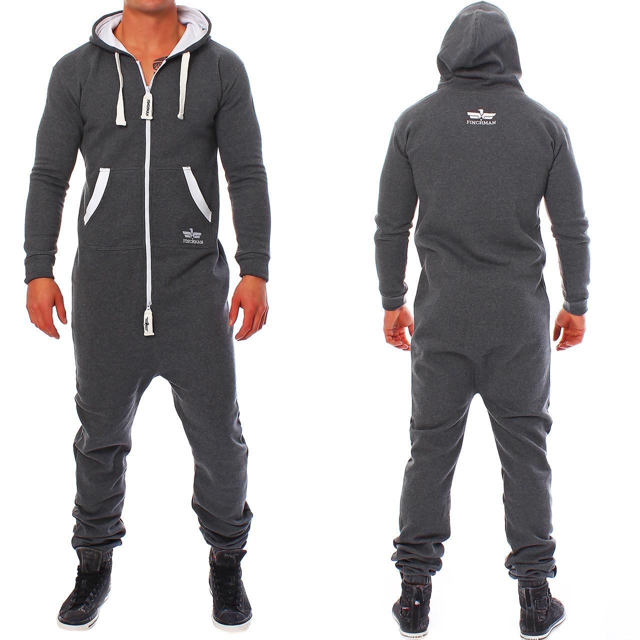 finchman herren jumpsuit jogger jogging anzug trainingsanzug overall onesie ebay. Black Bedroom Furniture Sets. Home Design Ideas